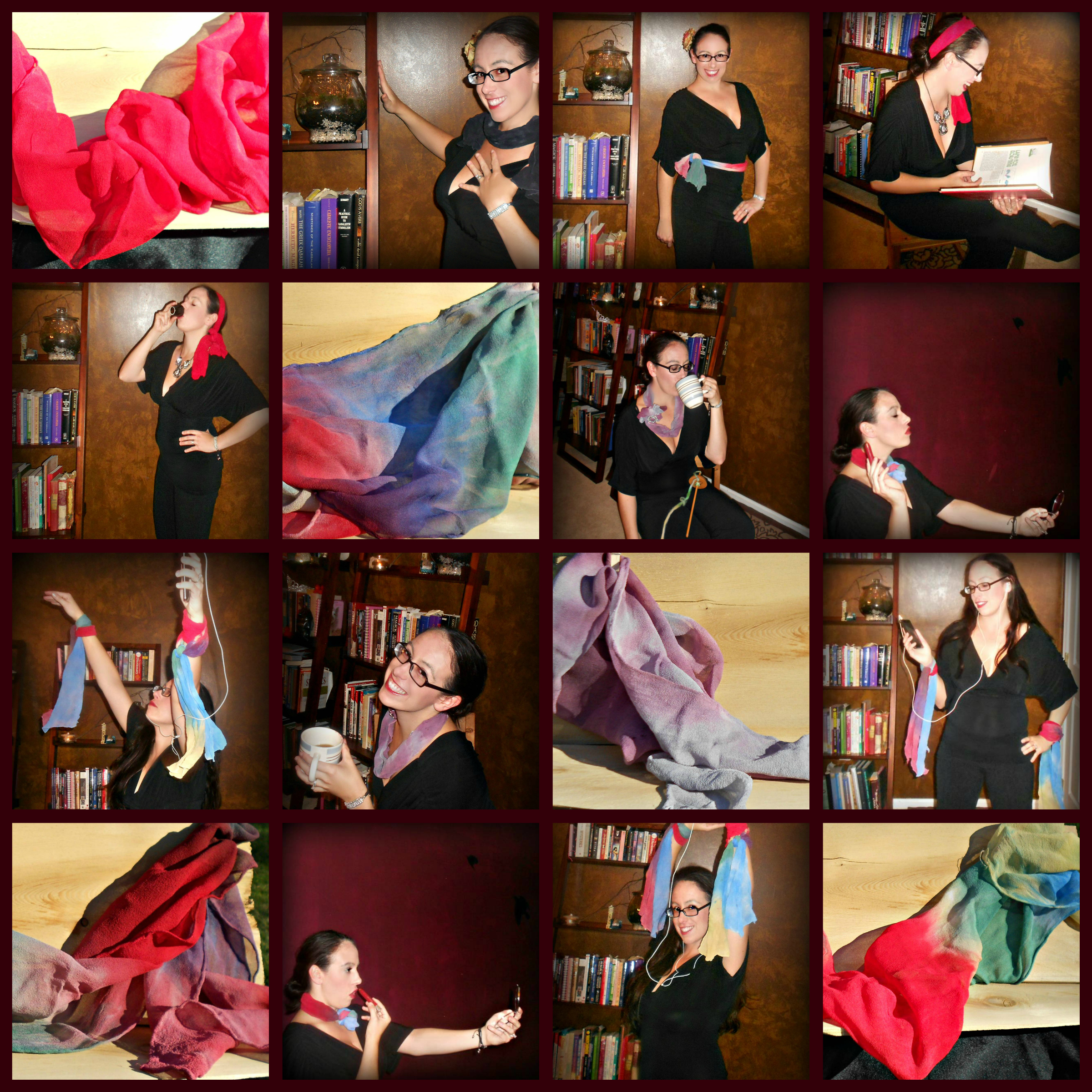 silk scarf collage